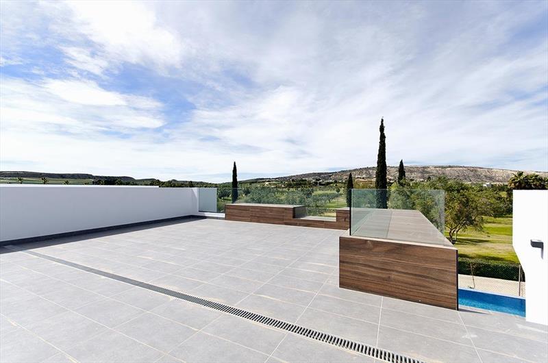 te koop vrijstaande villa Algorfa Costa Blanca Spanje dakterras.