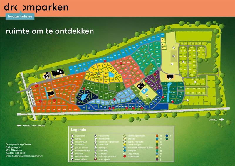 Vakantiehuis te koop Gelderland Arnhem Koningsweg 14 Ka9 Droompark De Hooge Veluwe Plattegrond van het park