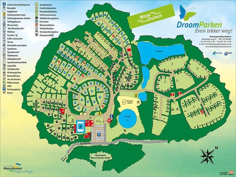 Vakantiehuis te koop Limburg Belfeld Maalbekerweg 25 K002  Droompark Maasduinen Plattegrond van het park