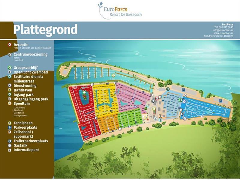 Vakantiehuis te koop Zuid Holland Dordrecht Rijksstraatweg 186 K509 Europarcs Resort De Biesbosch Plattegrond van het park