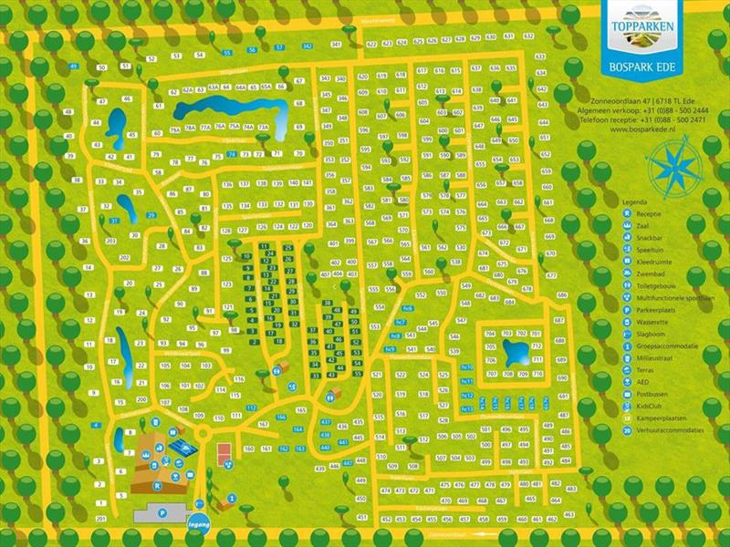 Vakantiehuis te koop Gelderland Ede Zonneoordlaan 47 K86 Toppark Bospark Ede Plattegrond van het park