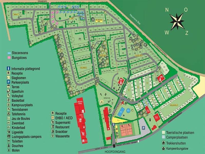Vakantiehuis te koop Gelderland Heumen Vosseneindseweg 46 K233 Park Heumense Bos Plattegrond van het park