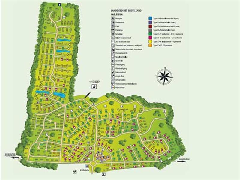 Vakantiehuis te koop Drenthe Hooghalen H.v. Halenweg 2 K57 Park Het Grote Zand Plattegrond van het park