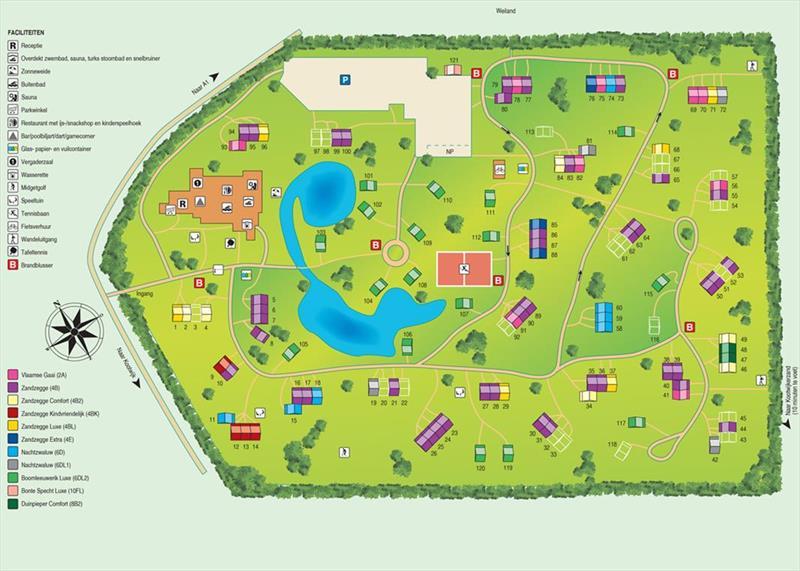 Vakantiehuis te koop Gelderland Kootwijk Kerkendelweg 30 K52 Park De Berkenhorst Plattegrond van het park