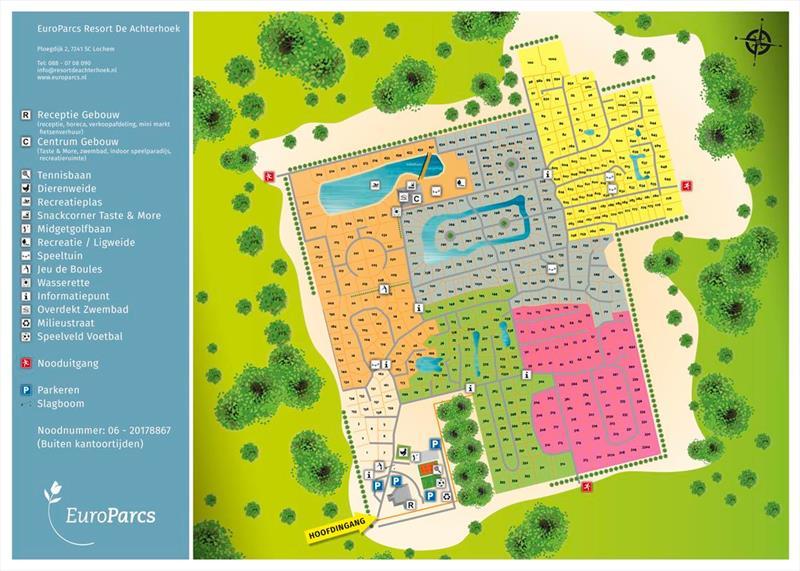 Vakantiehuis te koop Gelderland Lochem Ploegdijk 2 K128  Resort De Achterhoek  Plattegrond van het park