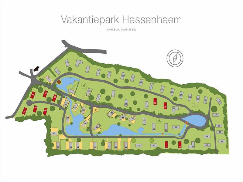 Vakantiehuis te koop Overijssel Markelo  Potdijk 8 K5 Park Hessenheem Plattegrond van het park