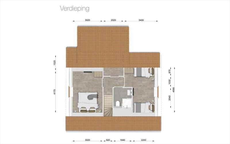 Vakantiehuis te koop Nieuwvliet-Bad in Zeeland aan het strand plattegrond boven