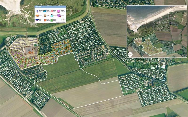 Vakantiehuis te koop Nieuwvliet-Bad in Zeeland aan het strand luchtfoto