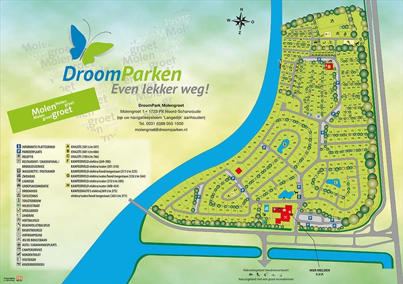 Vakantiehuis te koop Noord Holland Droompark Molengroet Plattegrond van het park