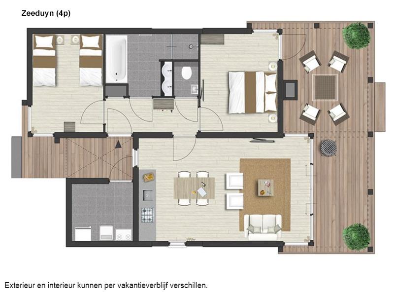 Vakantiehuis te koop Z.Holland Ouddorp Vloedburgh 6 Roompot Strandpark Duynhille  Bouwtekening