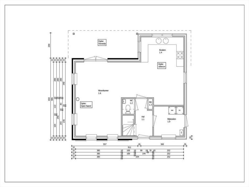 Vakantiehuis te koop Zeeland Poortvliet Havenweg 19  Bouwtekening