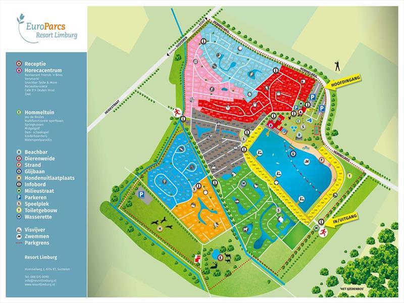 Vakantiehuis te koop Limburg Susteren Hommelweg 2 K801 12 pers. Park Resort Limburg Plattegrond van het park