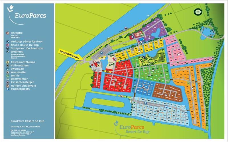 Vakantiehuis te koop N.Holland Oost-Graftdijk Groenedijk 6K360  Eurparcs Resort De Rijp   Plattegrond van het park
