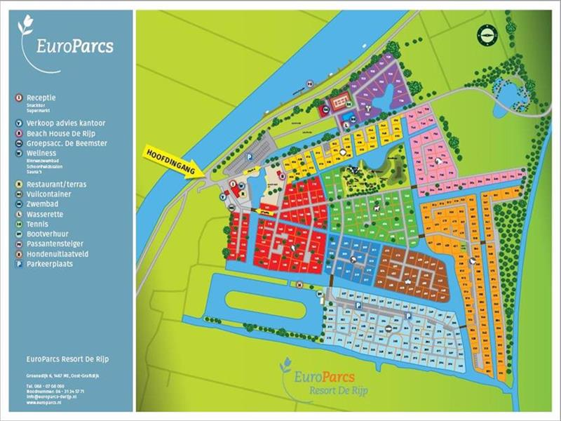 Vakantiehuis te koop N.Holland West Graftdijk K415 Park De Rijp Plattegrond van het park