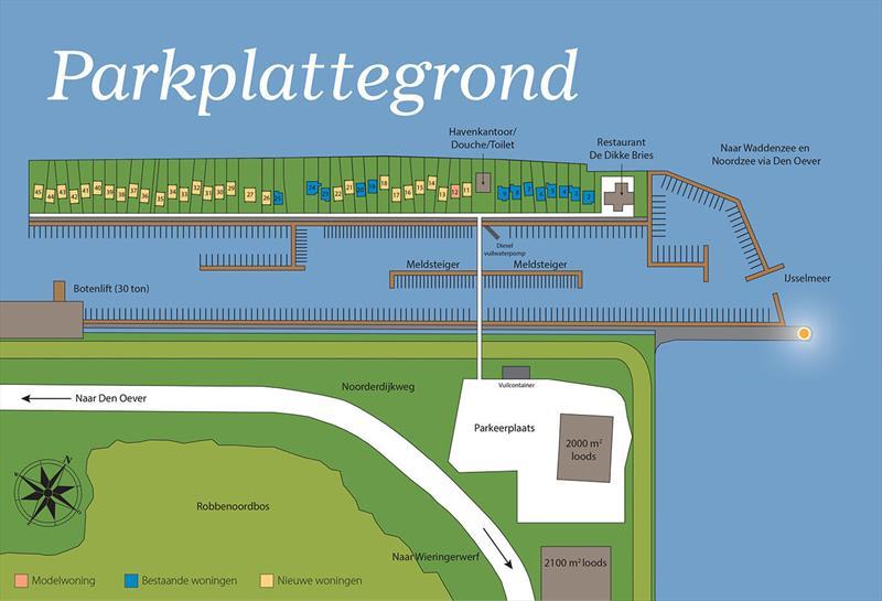 Vakantiehuis te koop N.Holland Wieringerwerf park den Oever Plattegrond van het park