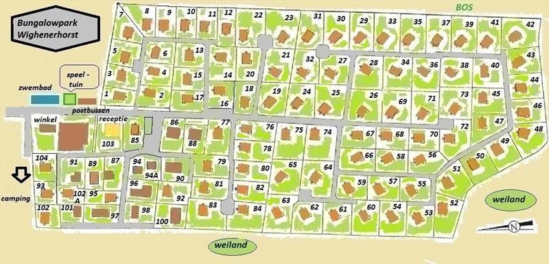 Vakantiehuis te koop Gelderland Wijchen Wighenerhorst 103 Plattegrond van het park